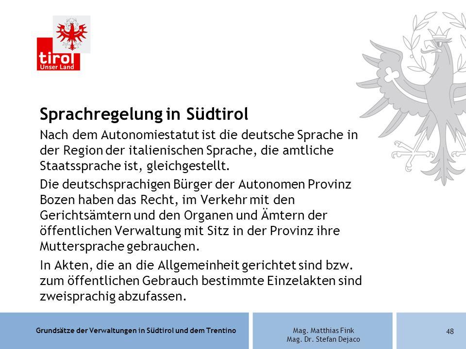 Sprachregelung in Südtirol