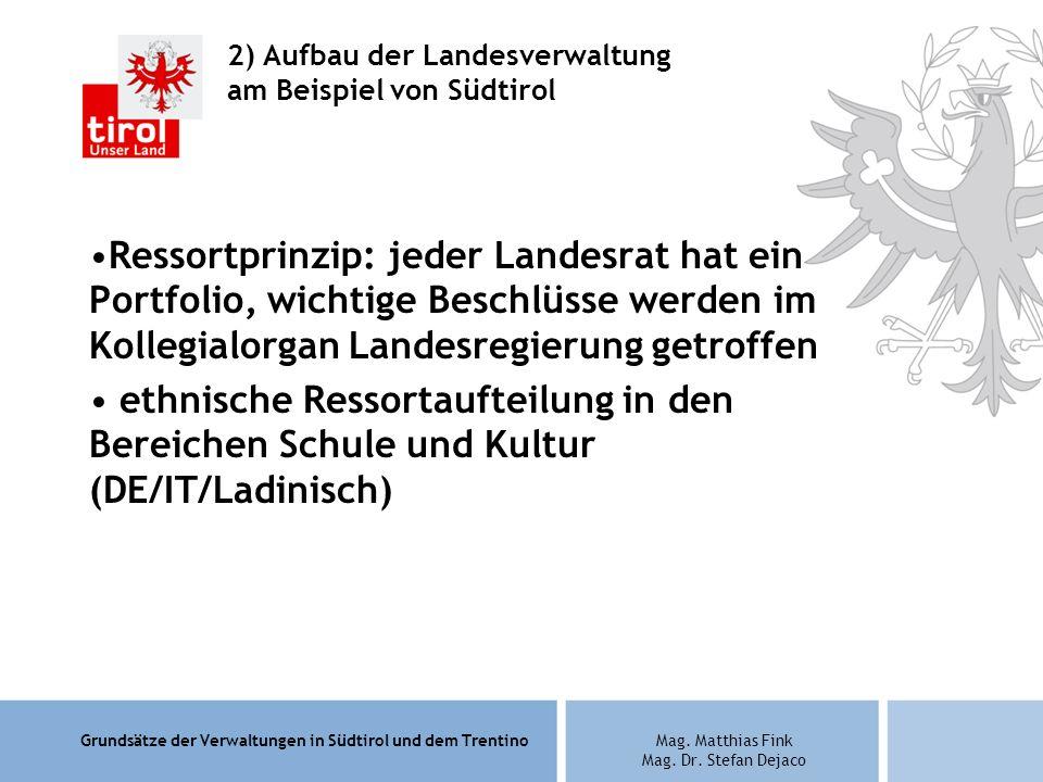 2) Aufbau der Landesverwaltung am Beispiel von Südtirol