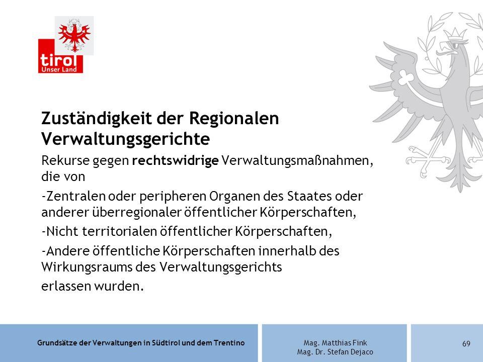 Zuständigkeit der Regionalen Verwaltungsgerichte