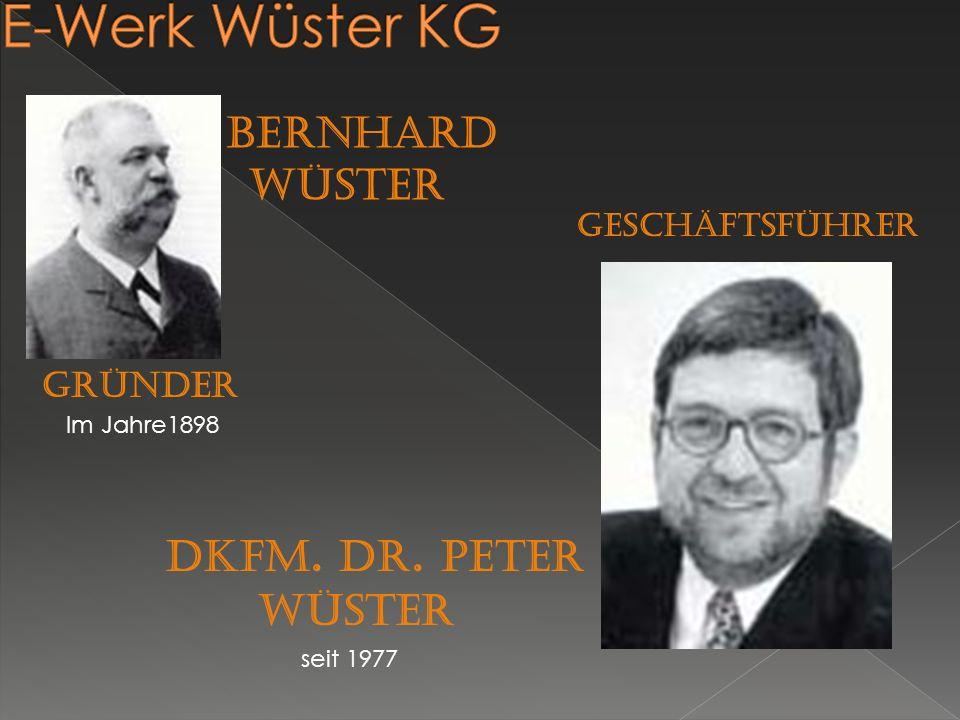 E-Werk Wüster KG Dkfm. Dr. Peter Wüster bernhard wüster GRÜNDER