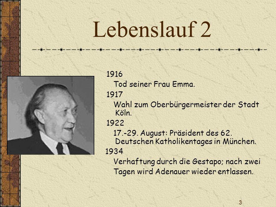 Lebenslauf 2 1916 Tod seiner Frau Emma. 1917