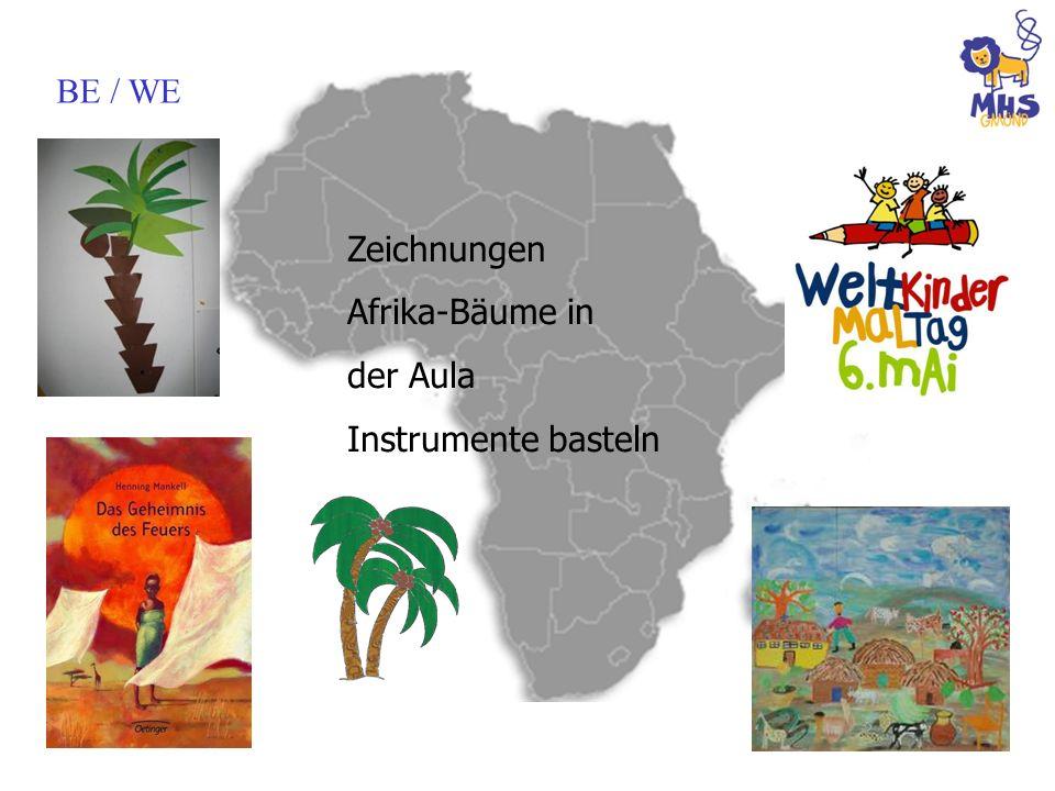 BE / WE Zeichnungen Afrika-Bäume in der Aula Instrumente basteln