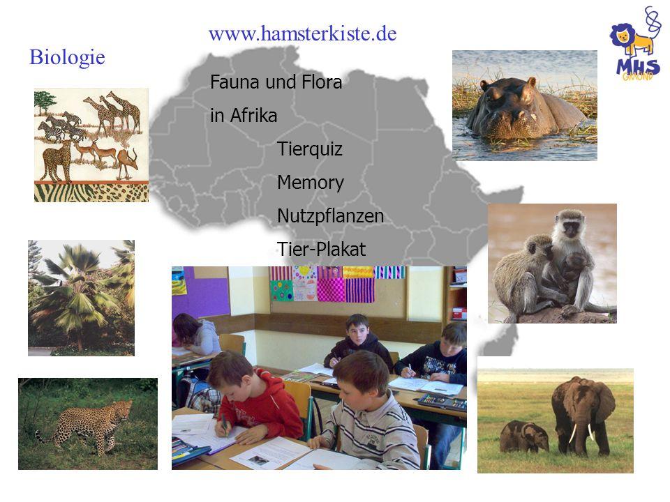 www.hamsterkiste.de Biologie Fauna und Flora in Afrika Tierquiz Memory