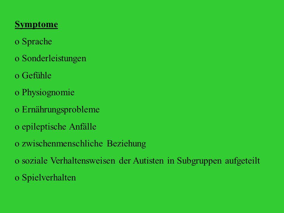 Symptome Sprache. Sonderleistungen. Gefühle. Physiognomie. Ernährungsprobleme. epileptische Anfälle.