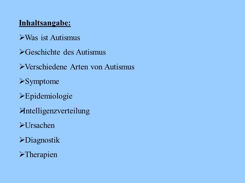 Inhaltsangabe: Was ist Autismus. Geschichte des Autismus. Verschiedene Arten von Autismus. Symptome.