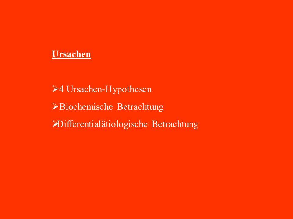 Ursachen 4 Ursachen-Hypothesen Biochemische Betrachtung Differentialätiologische Betrachtung