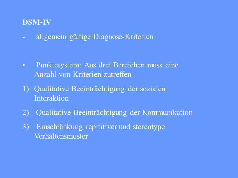 DSM-IV allgemein gültige Diagnose-Kriterien. Punktesystem: Aus drei Bereichen muss eine Anzahl von Kriterien zutreffen.