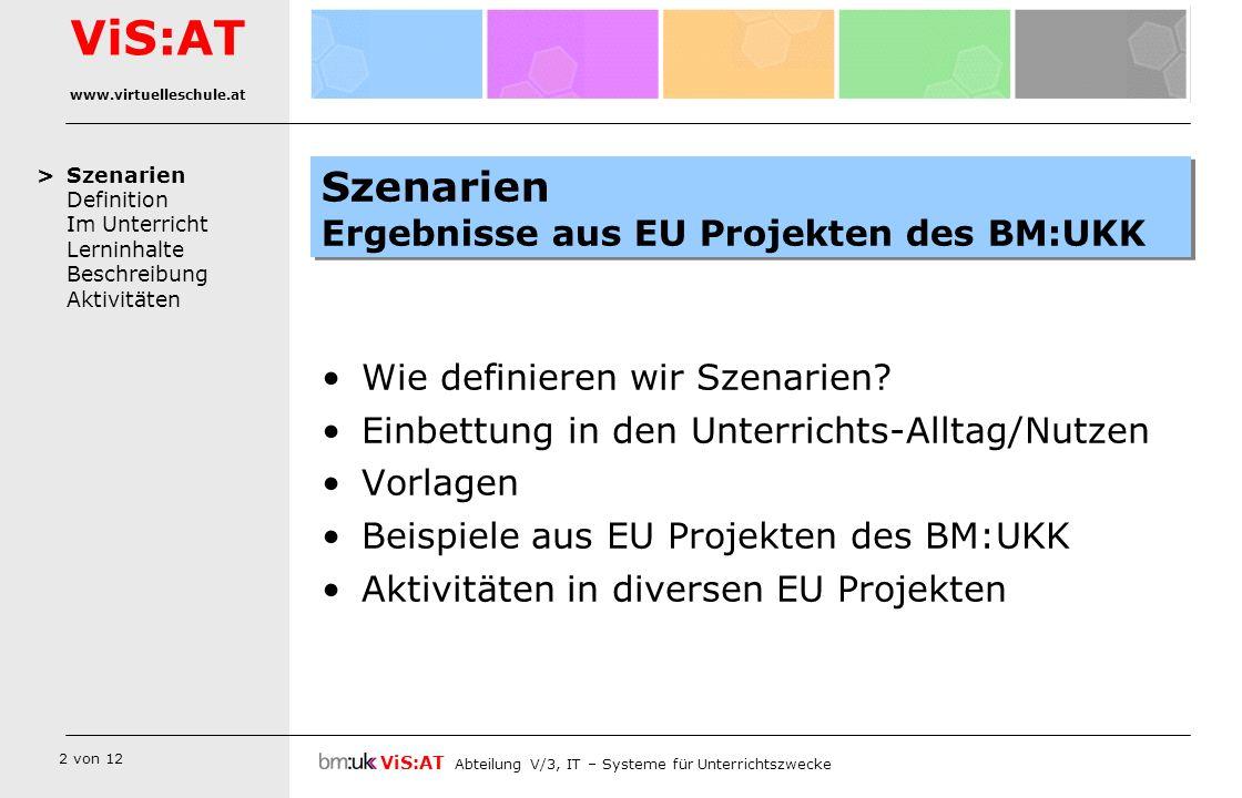 Szenarien Ergebnisse aus EU Projekten des BM:UKK