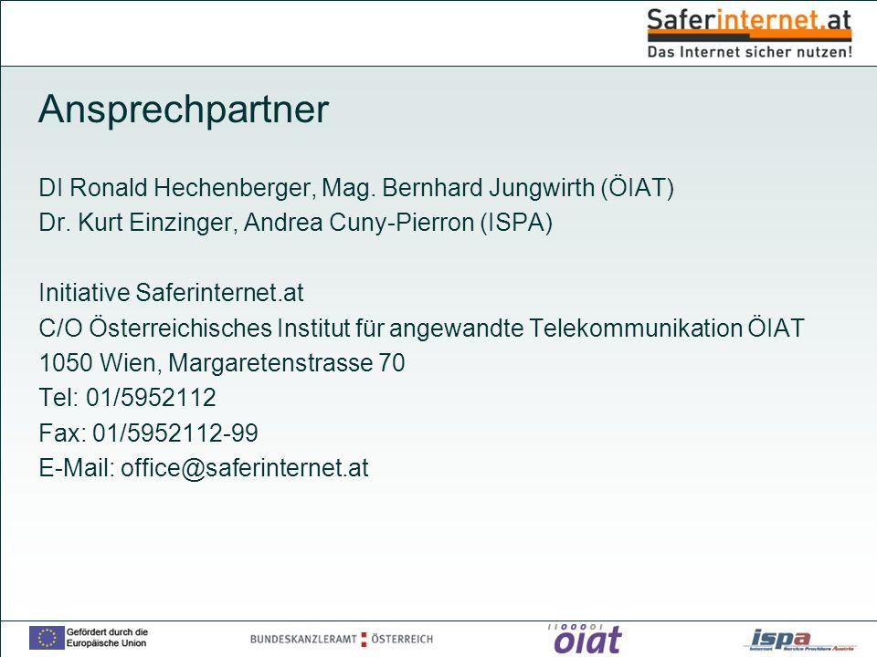 Ansprechpartner DI Ronald Hechenberger, Mag. Bernhard Jungwirth (ÖIAT)