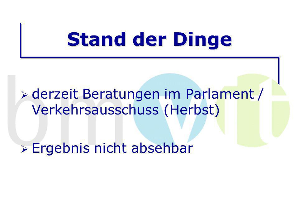 Stand der Dinge derzeit Beratungen im Parlament / Verkehrsausschuss (Herbst) Ergebnis nicht absehbar.