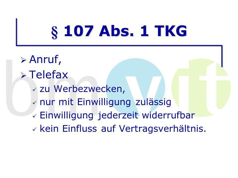 § 107 Abs. 1 TKG Anruf, Telefax zu Werbezwecken,