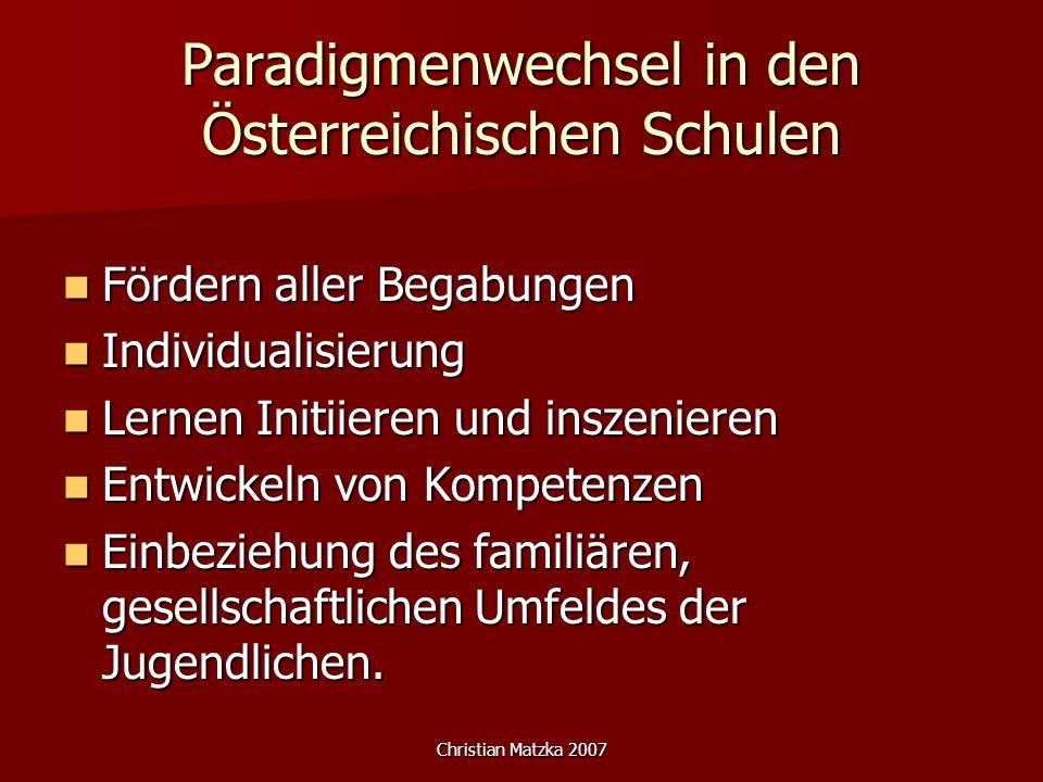 Paradigmenwechsel in den Österreichischen Schulen