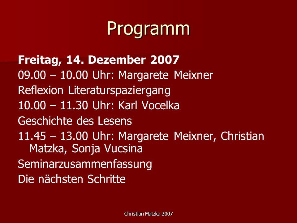 Programm Freitag, 14. Dezember 2007