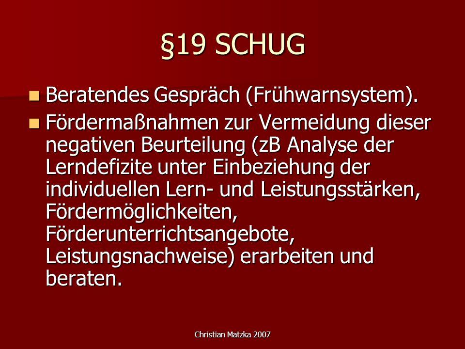 §19 SCHUG Beratendes Gespräch (Frühwarnsystem).