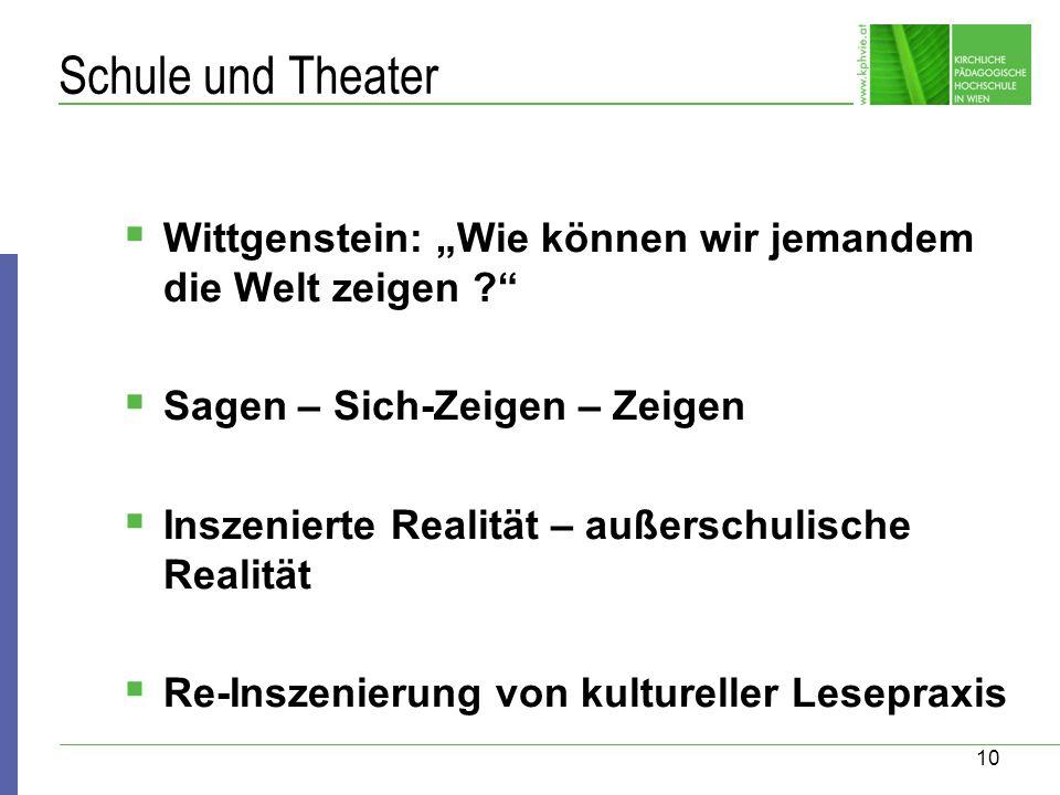 """Schule und Theater Wittgenstein: """"Wie können wir jemandem die Welt zeigen Sagen – Sich-Zeigen – Zeigen."""