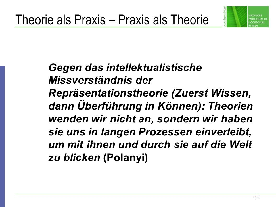 Theorie als Praxis – Praxis als Theorie