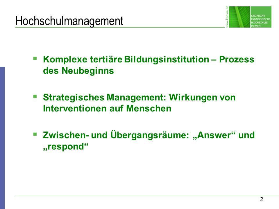 Hochschulmanagement Komplexe tertiäre Bildungsinstitution – Prozess des Neubeginns.