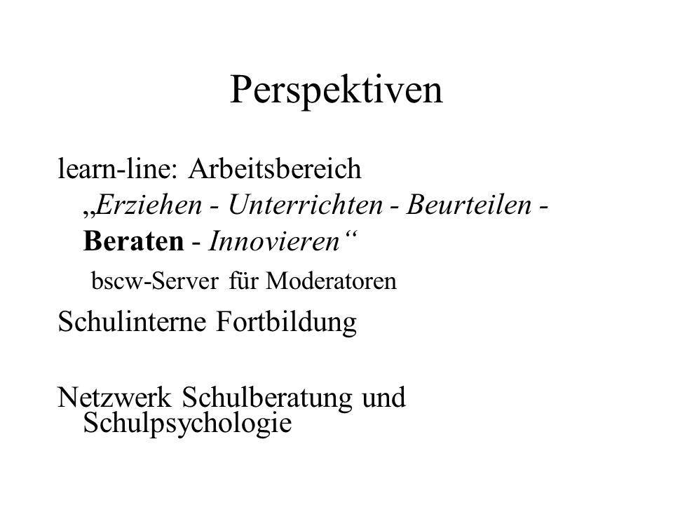 """Perspektiven learn-line: Arbeitsbereich """"Erziehen - Unterrichten - Beurteilen - Beraten - Innovieren"""