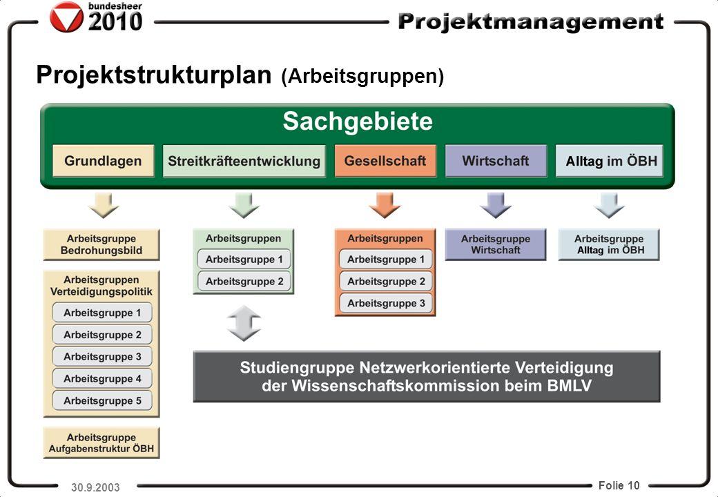 Projektstrukturplan (Arbeitsgruppen)