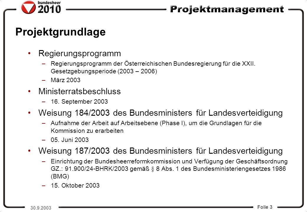 Projektgrundlage Regierungsprogramm Ministerratsbeschluss