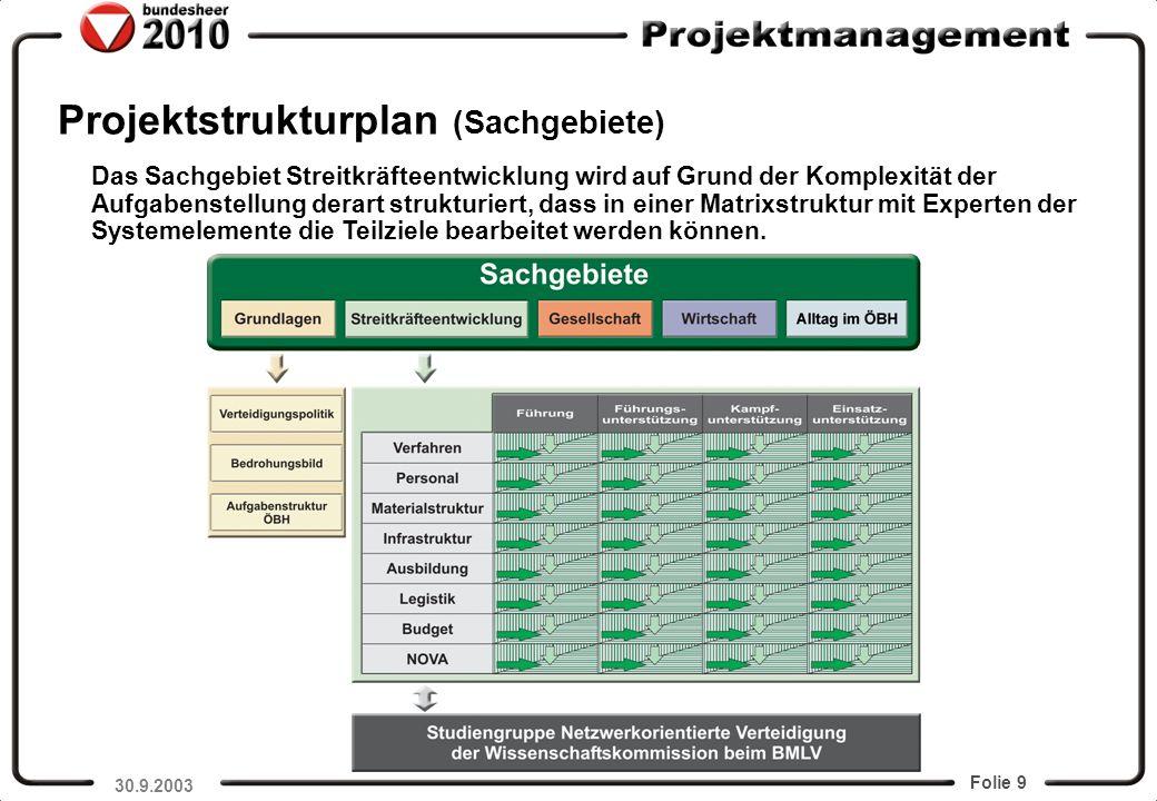 Projektstrukturplan (Sachgebiete)