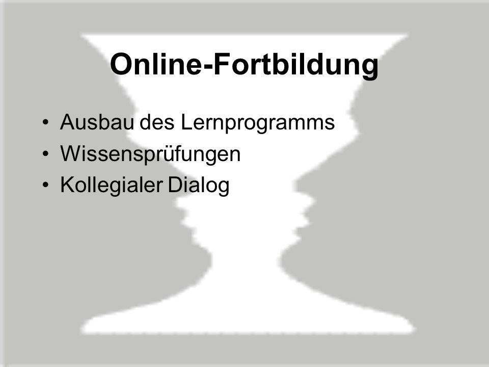 Online-Fortbildung Ausbau des Lernprogramms Wissensprüfungen
