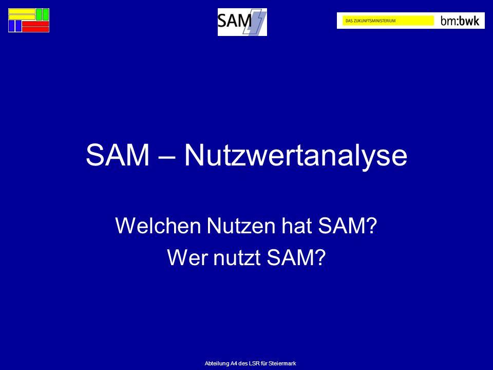 Welchen Nutzen hat SAM Wer nutzt SAM