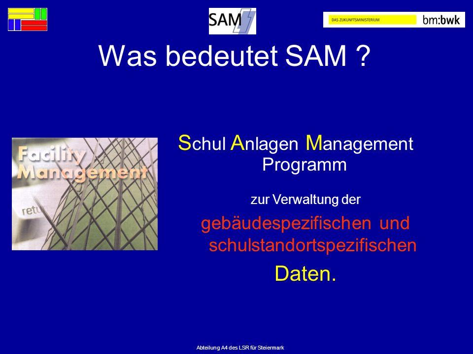 Was bedeutet SAM Schul Anlagen Management Programm Daten.