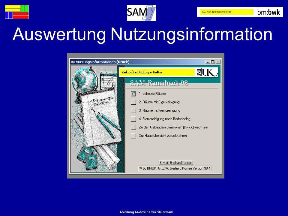 Auswertung Nutzungsinformation