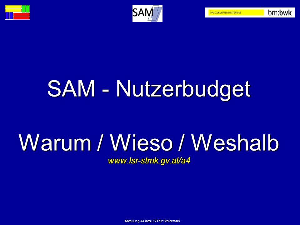 SAM - Nutzerbudget Warum / Wieso / Weshalb www.lsr-stmk.gv.at/a4