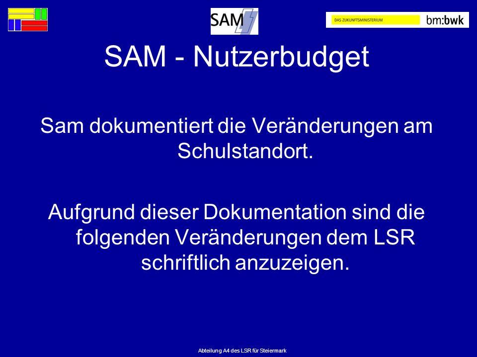 SAM - Nutzerbudget Sam dokumentiert die Veränderungen am Schulstandort.