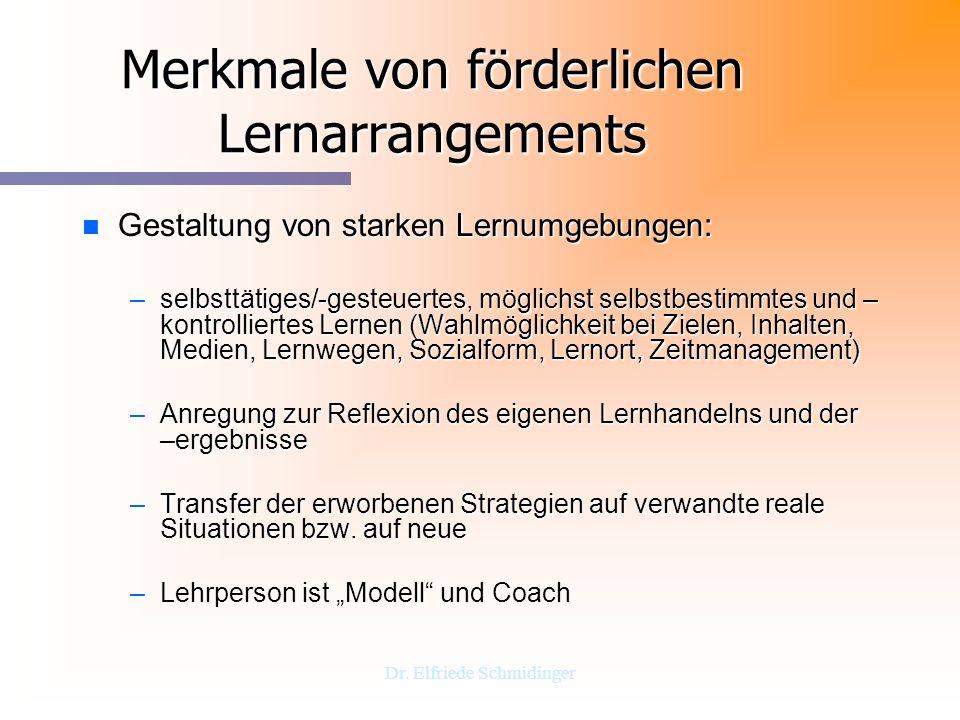Merkmale von förderlichen Lernarrangements