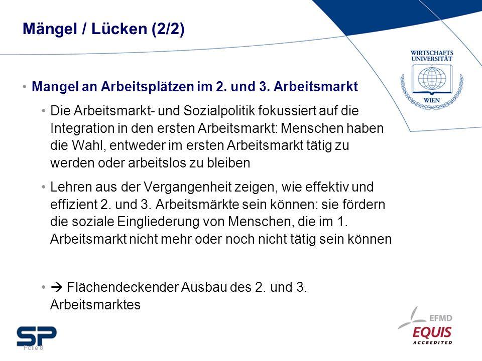 Mängel / Lücken (2/2) Mangel an Arbeitsplätzen im 2. und 3. Arbeitsmarkt.