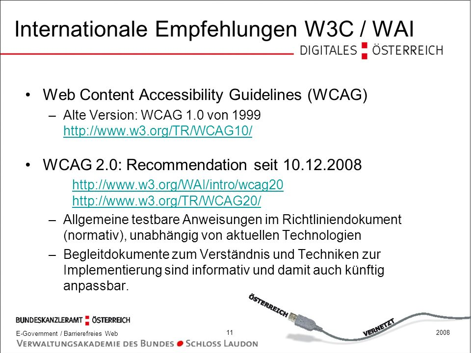 Internationale Empfehlungen W3C / WAI