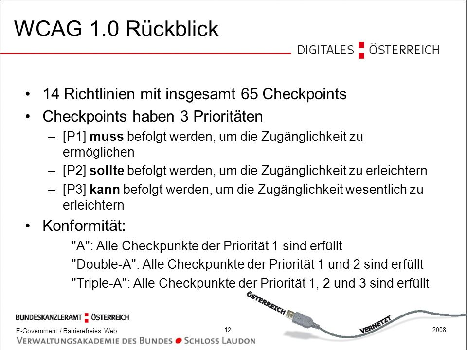 WCAG 1.0 Rückblick 14 Richtlinien mit insgesamt 65 Checkpoints