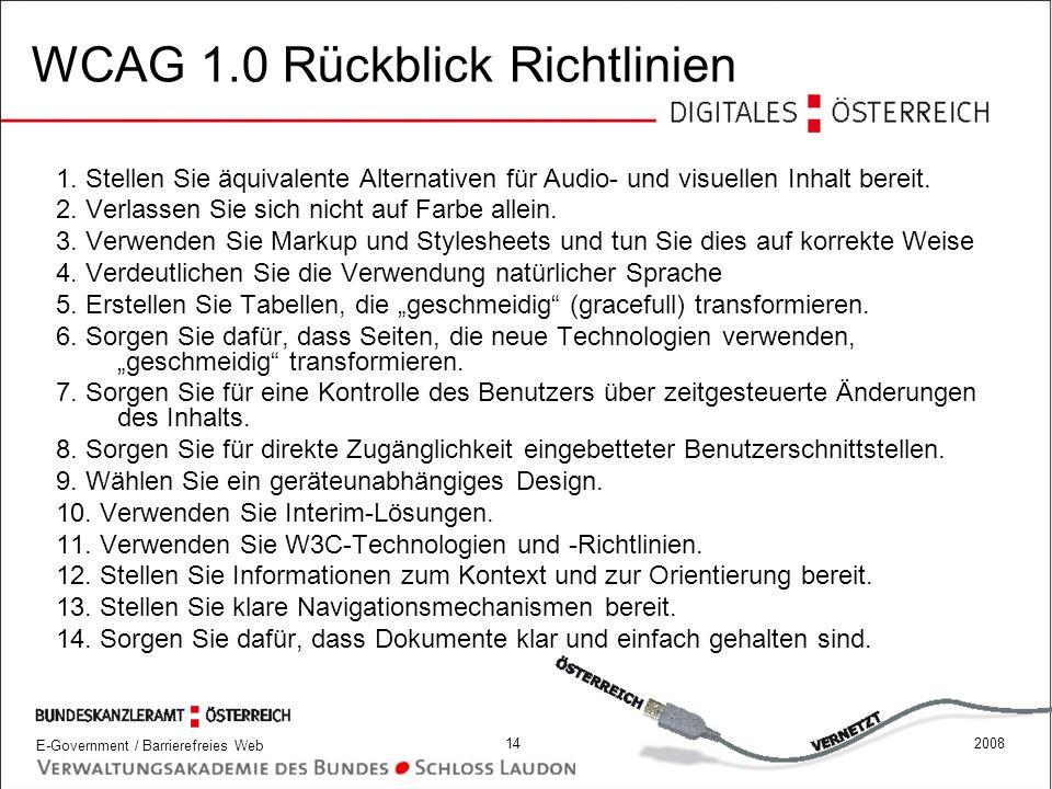 WCAG 1.0 Rückblick Richtlinien
