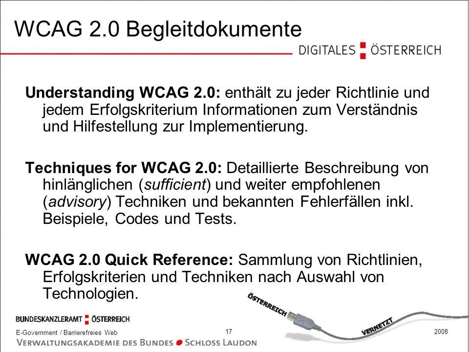 WCAG 2.0 Begleitdokumente