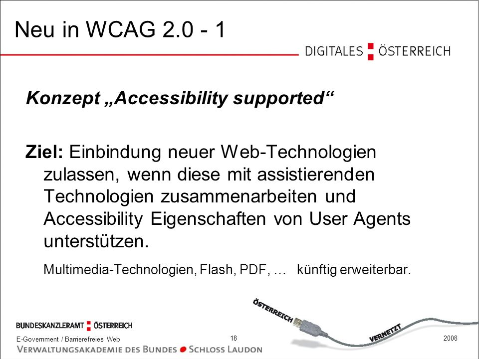 "Neu in WCAG 2.0 - 1 Konzept ""Accessibility supported"