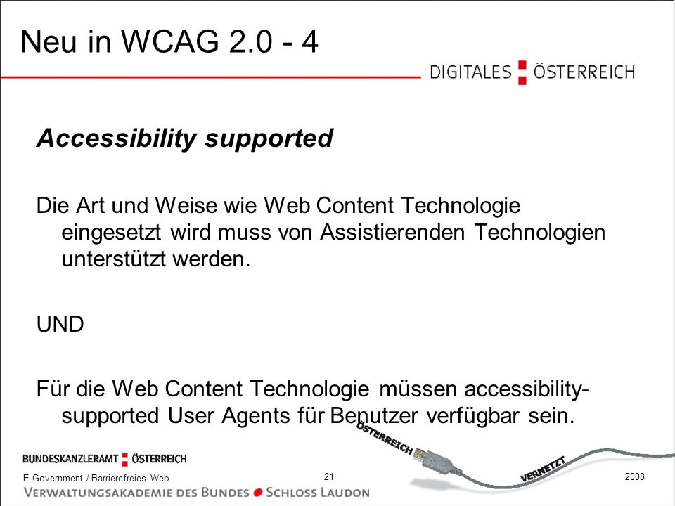 Neu in WCAG 2.0 - 4 Accessibility supported