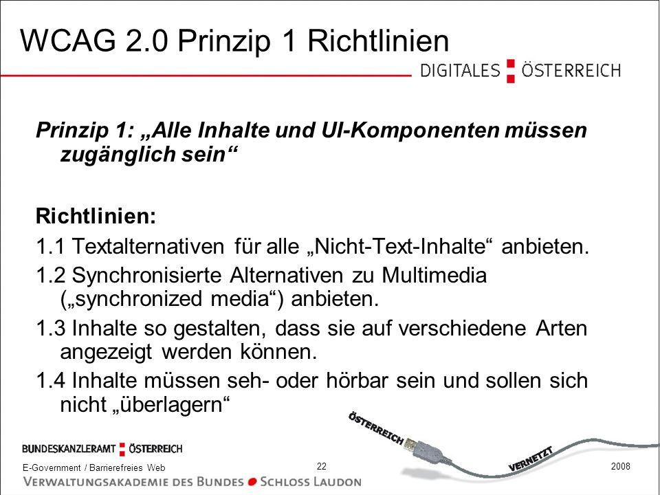WCAG 2.0 Prinzip 1 Richtlinien