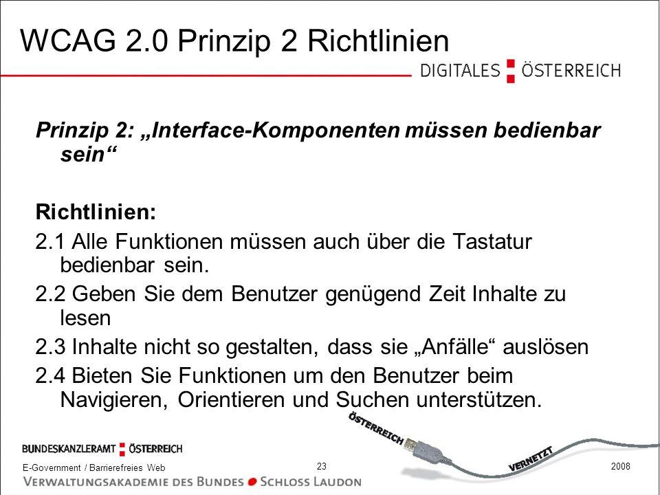 WCAG 2.0 Prinzip 2 Richtlinien
