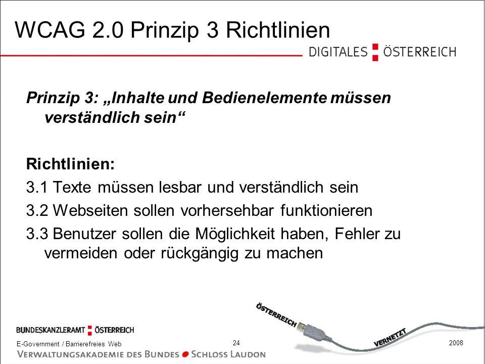 WCAG 2.0 Prinzip 3 Richtlinien