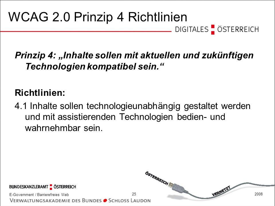 WCAG 2.0 Prinzip 4 Richtlinien