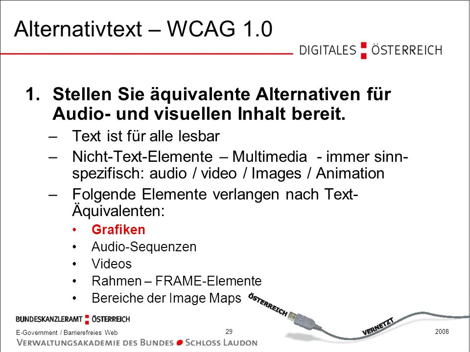 Alternativtext – WCAG 1.0 Stellen Sie äquivalente Alternativen für Audio- und visuellen Inhalt bereit.