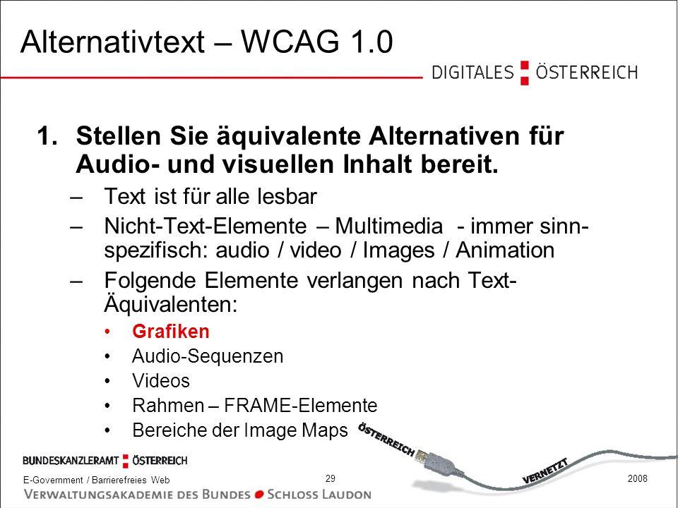 Alternativtext – WCAG 1.0 Stellen Sie äquivalente Alternativen für Audio- und visuellen Inhalt bereit.