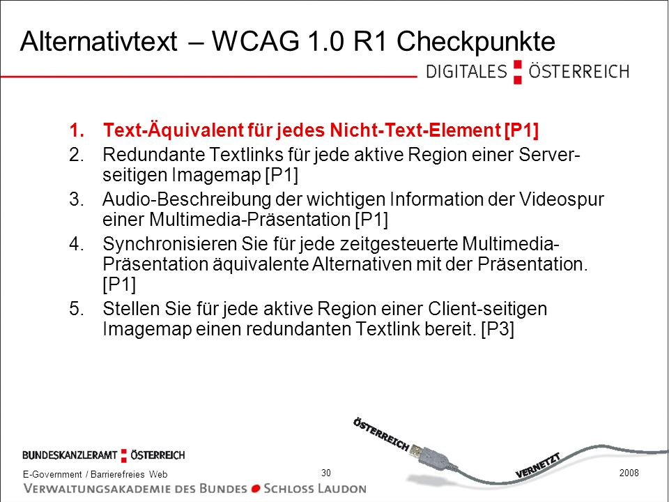 Alternativtext – WCAG 1.0 R1 Checkpunkte