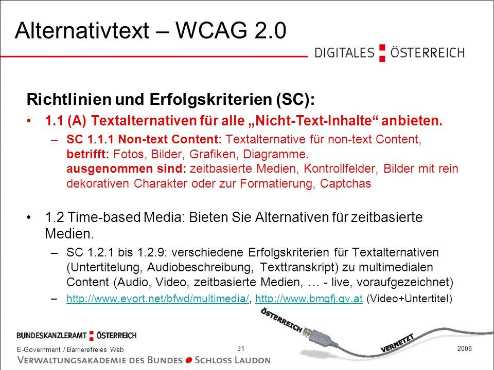 Alternativtext – WCAG 2.0 Richtlinien und Erfolgskriterien (SC):