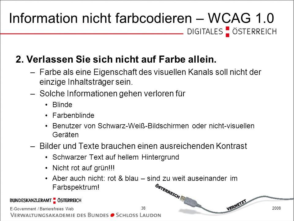 Information nicht farbcodieren – WCAG 1.0