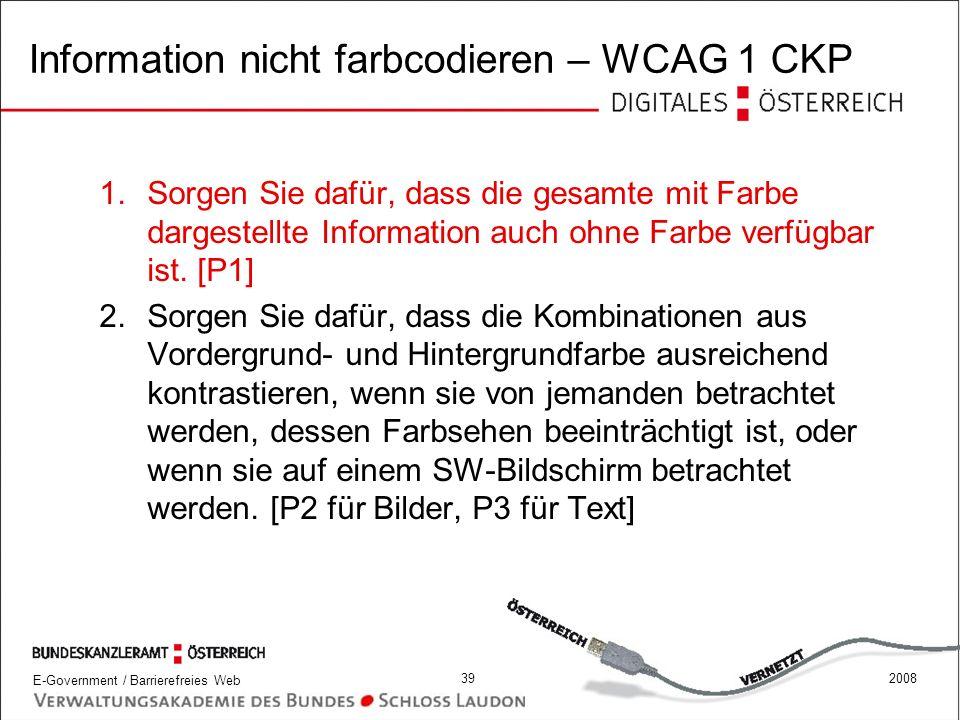 Information nicht farbcodieren – WCAG 1 CKP