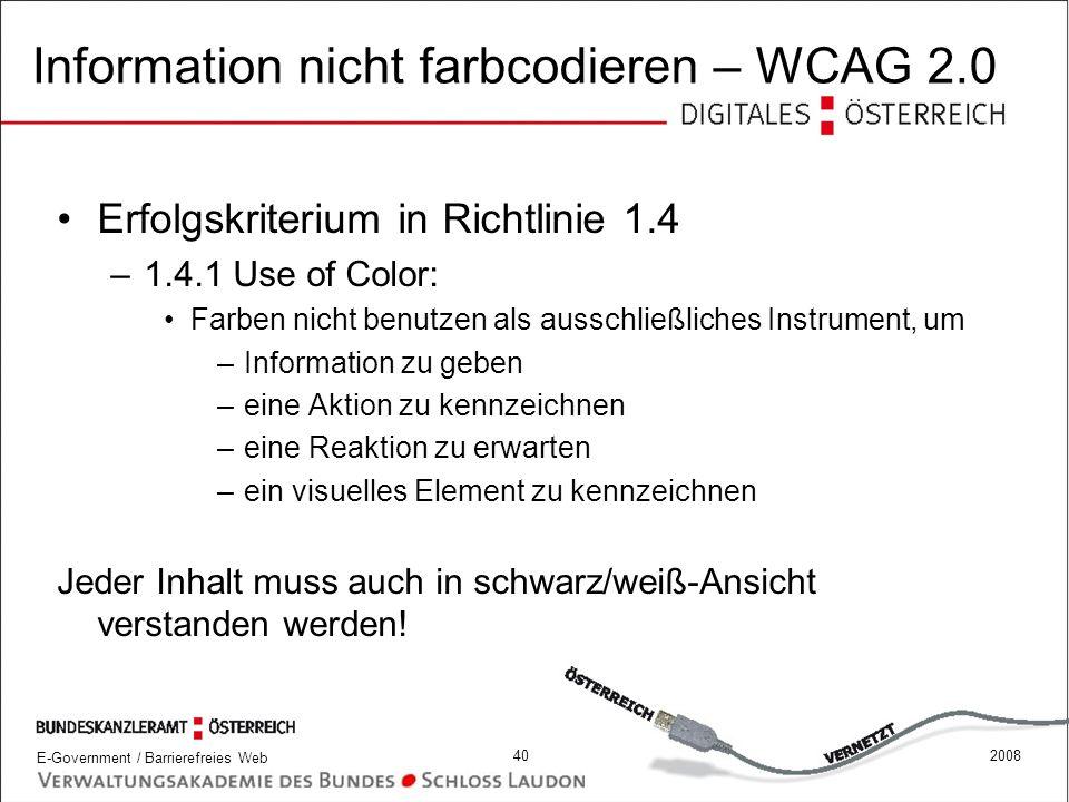 Information nicht farbcodieren – WCAG 2.0
